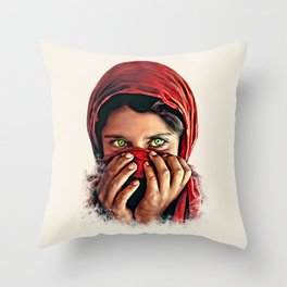 Afghan Girl with Beautiful Eyes Throw Pillow