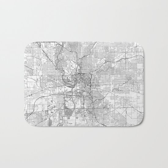 Indianapolis Map Line Bath Mat