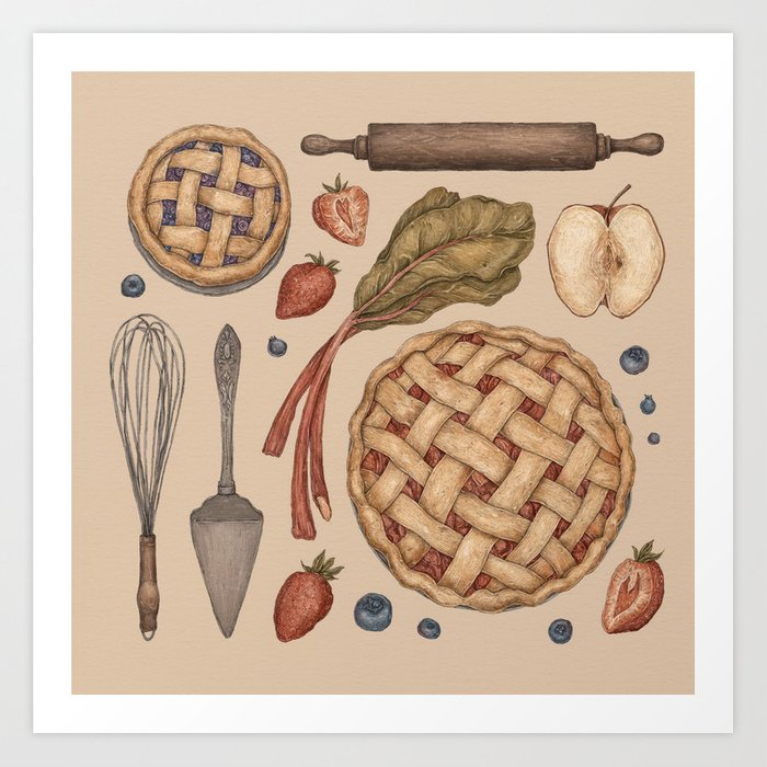 Pie Baking Collection Art Print