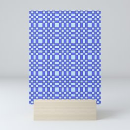 Square and tartan 2 - blue Mini Art Print