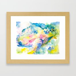 Sea Turtle Watercolor Illustration by Julie Lehite, Julesofthesea Framed Art Print