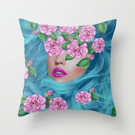 Lady with Camellias Throw Pillow