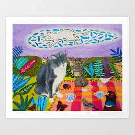 Kitty's Tea Party Art Print