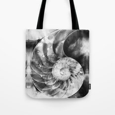 Black And White Nautilus Shell By Sharon Cummings Tote Bag