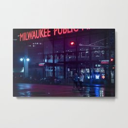 Milwaukee Public Market Neon Rain Metal Print