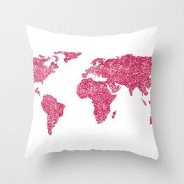 world map hot pink glitter sparkles throw pillow
