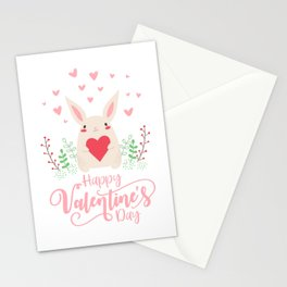 Cute and Adorable Valentine Bunny with a Heart Stationery Cards