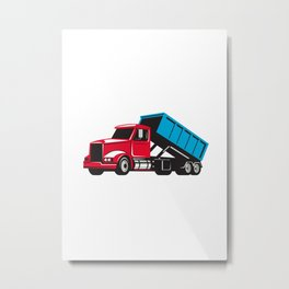 Roll-Off Truck Side Up Retro Metal Print