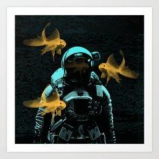 astronauts and goldfish Art Print