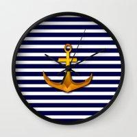 marine Wall Clocks featuring Marine by Elena Indolfi