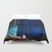 manchester Duvet Covers featuring Manchester Pigeons by Caroline Benzies Photography