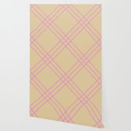 Beige and pink plaid Wallpaper