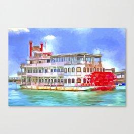 New Orleans Paddle Steamer Pop Art Canvas Print