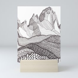 Patterns on Patagonia / Black and White Mountain Drawing / Abstract Mountain Landscape Mini Art Print