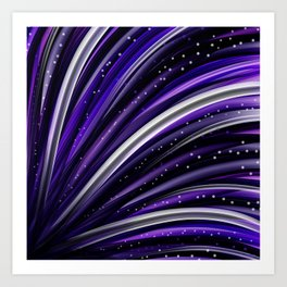 Purple and White Wavy  Lines and Dots Abstract Art Print