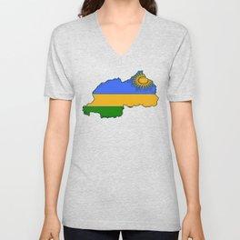 Rwanda Map with Rwandan Flag Unisex V-Neck