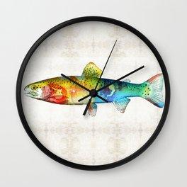 Rainbow Trout Art by Sharon Cummings Wall Clock