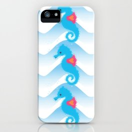 Seahorses And Blue Waves Pattern iPhone Case