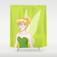 tinker bell Shower Curtains featuring Tinker Bell by Fran Abigail