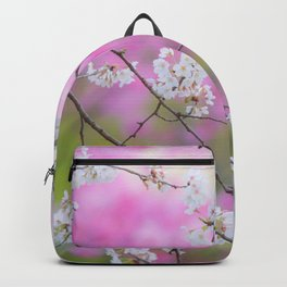 Cherry blossoms in Japan with blurry pink background Backpack