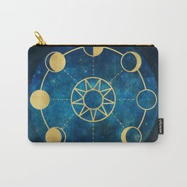Gold Moon Phases Sun Stars Night Sky Navy Blue Carry-All Pouch