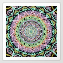 Black Pastel Mandala 012018 Art Print