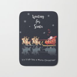 Waiting for Santa, Ho! Ho! Ho! We Wish You a Merry Christmas! Lettering. Winter Holiday Collection Bath Mat