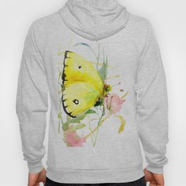 Soft Yellow Butterfly and Pink Flower, pink turquoise lemon yellow girls room art, design Hoody