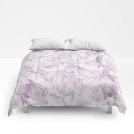 Elegant modern vintage white lilac violet marble Comforters