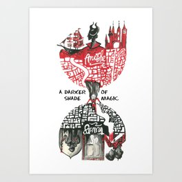 Red & Black London from A Darker Shade Of Magic Art Print