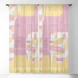 Bold Painted Tiles 01 #society6 #midmod Sheer Curtain