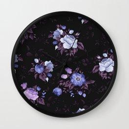 Purple Glowing Flowers In The Dark Of Night Floral Pattern Wall Clock