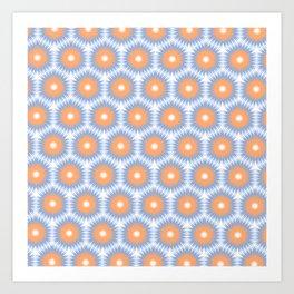 Pale Blue Orange Geo Pattern Art Print