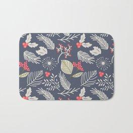 Winter berry pattern Bath Mat