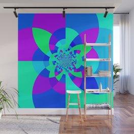 Orchid Aqua Turquoise Kaleidoscope Wall Mural