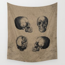Skull View - Antique Vintage Style Medical Etching Wall Tapestry