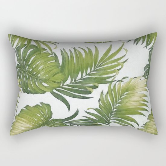 Monstera and palm leaves Rectangular Pillow