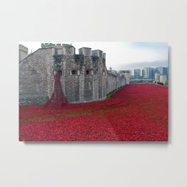 Tower of London Red Poppy England Metal Print