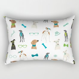 Sighthounds Pattern Green Rectangular Pillow