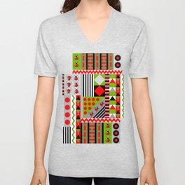 Geometric spring design with ladybugs and flowers Unisex V-Neck