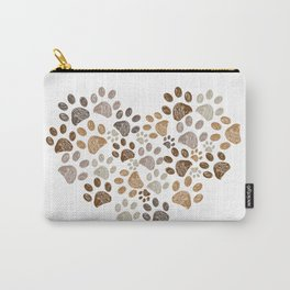 Made of heart doodle brown paw print Carry-All Pouch