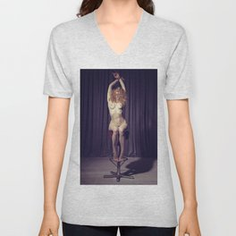 Tied up nude woman on a bar stool #A8633 Unisex V-Neck