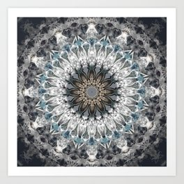 Gray, blue Mandala Art Print