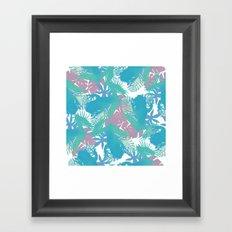 Tropical Blue Frog Pattern Framed Art Print