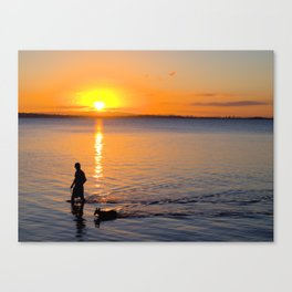 Wading in the Sunset Canvas Print