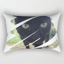 Curious Black Cat Rectangular Pillow