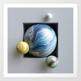 3d abstract background, assorted marble balls inside square niche - Illustration Art Print