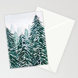 snowy pine forest in green Stationery Cards
