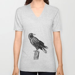 Perched Crow Unisex V-Neck