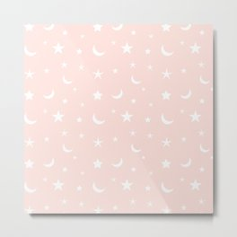 White moon and star pattern on pink background Metal Print